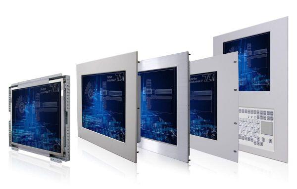 01-Front-right-WM17PMA-IP65 / TL Produkt-Welten / Industriemonitor / Panel Mount (Einbau von vorne) / Touch-Screen für 1-Finger-Bedienung