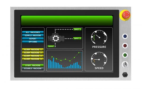 01-W22L100-SPA3-B-Front / TL Produkt-Welten / Panel-PC / Chassis Edelstahl (VESA-Mounting) / Multitouch-Screen, projiziert-kapazitiv (PCAP)