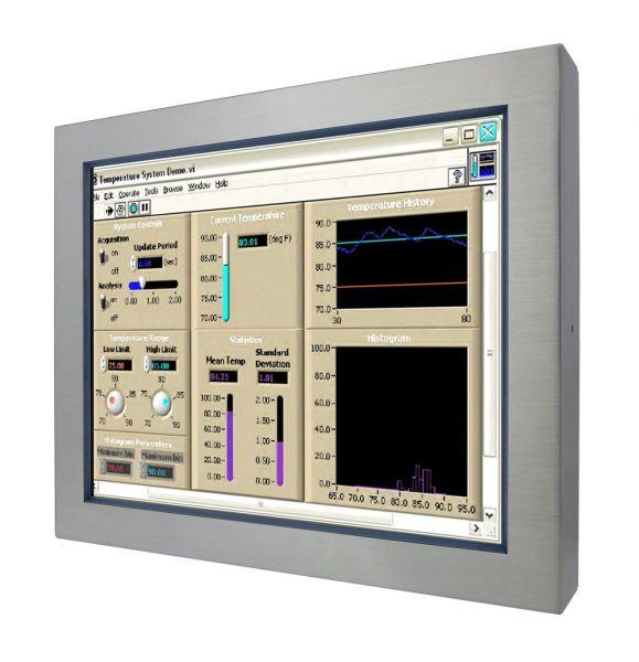 Front-right-WM 19-V-ES-PRU / TL Produkt-Welten / Industriemonitor / Chassis Edelstahl (VESA-Mounting) / Touch-Screen für 1-Finger-Bedienung