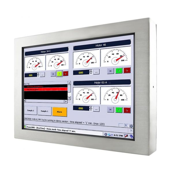01-Front-right-W22IH3S-65A4 / TL Produkt-Welten / Panel-PC / Chassis Edelstahl (VESA-Mounting) / Touch-Screen für 1-Finger-Bedienung