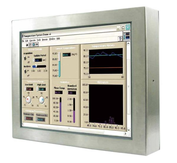 Front-right-WM 22W-V-ES-GS / TL Produkt-Welten / Industriemonitor / Chassis Edelstahl (VESA-Mounting) / ohne Touch-Screen