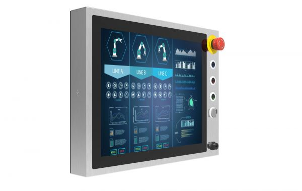 01-R15L100-SPC3-B-Front-left / TL Produkt-Welten / Industriemonitor / Chassis (VESA-Mounting) / Multitouch-Screen, projiziert-kapazitiv (PCAP)